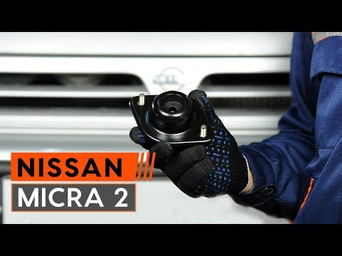 How to replace front strut mount onNISSAN MICRA 2Hatchback [TUTORIAL AUTODOC]