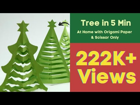 How to Make Christmas Tree in 5 Min. at Home with Origami Paper & Scissior Only