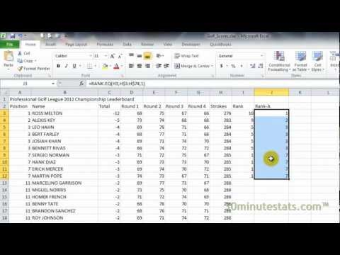 Excel 2010 - Rank.EQ Function
