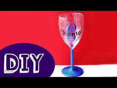 DIY GLITTER MONOGRAM WIJNGLAS   Vinyl Sticker Glas