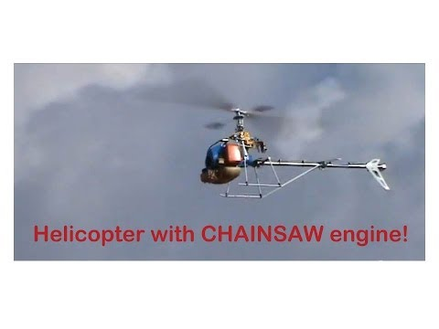 RC heli with 2 stroke GAS weed hacker engine