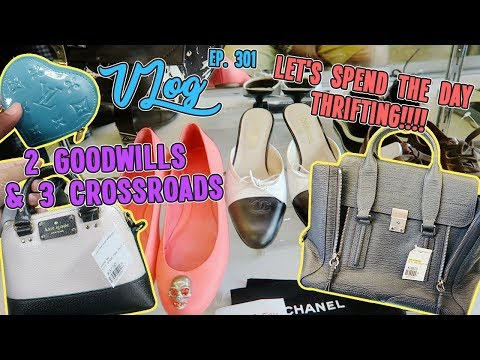 LET'S SPEND THE DAY THRIFTING   2 GOODWILLS & 3 CROSSROADS   VLOG EP. 301