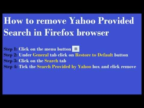 How to remove Yahoo Provided Search engine in Mozilla Firefox