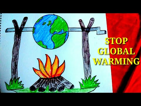 How to draw stop global warming save earth.