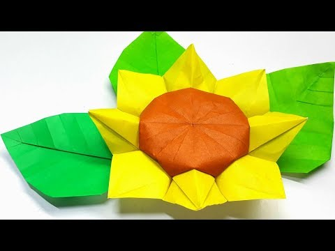 Origami Tutorial - How to fold an Easy 3D  Origami sunflower