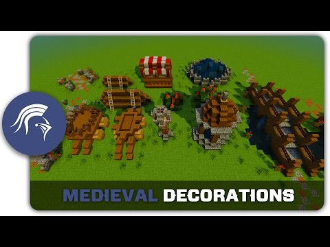 Minecraft Building Tutorial : How to build Medieval Town Decorations