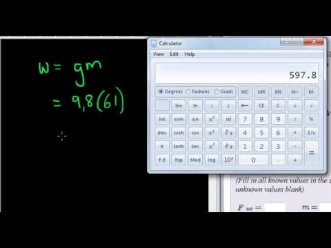 Example of finding weight given mass QID17952