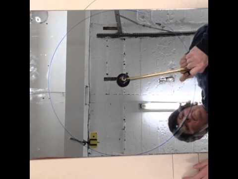 Circle Cutting Large Sheets of Mirror Glass - Scoring