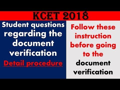 KCET 2018 document verification detail procedure || students doubt discussion