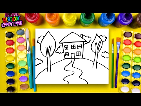 Learn to Color for Kids and Color Pencil Crayon House Coloring Pages