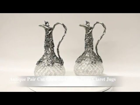 Antique Pair Cut Glass and Silver Plate Claret Jugs Decanters