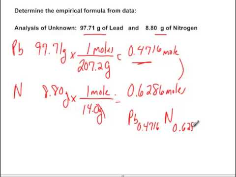 Empirical formula for a compound containing lead and nitrogen