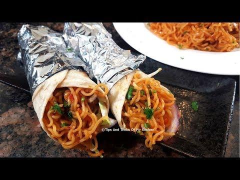 Veg Frankie Recipe With Maggi In Hindi   Masala Maggi Veg Frankie Street Style   Veg Kathi Roll