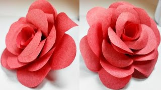 Paper flowers rose diy tutorial easy for children/origami flower folding 3d for kids,for beginners