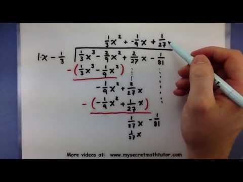 Pre Calculus How To Divide A Polynomial With Fractions Using Long Div