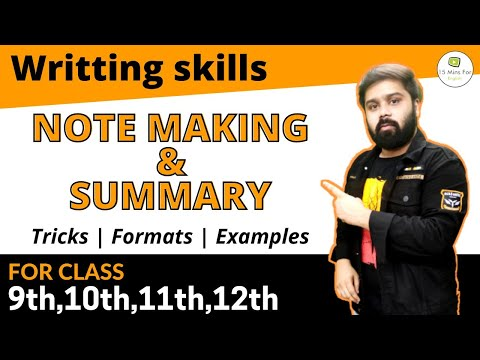 Note making and summary for class 11 and 12 in Hindi and English