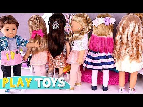 Baby Doll Hair Cut Shop! 🎀 Play American Girl Dolls DYI Hair Styles Salon by Play Toys!