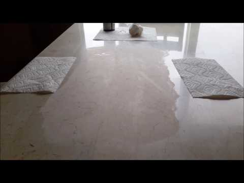 Removing etching / water marks from my marble table using etch remover