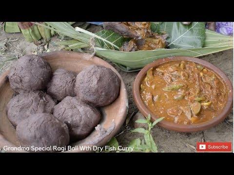 Grandma Chinnapillai Making Special Ragi Kali - Ragi mudde With Dry Fish With Brinjal Curry