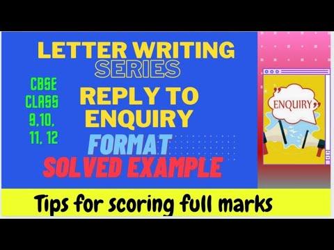 Reply to Enquiry CBSE Class X, XI, XII Writing Skills