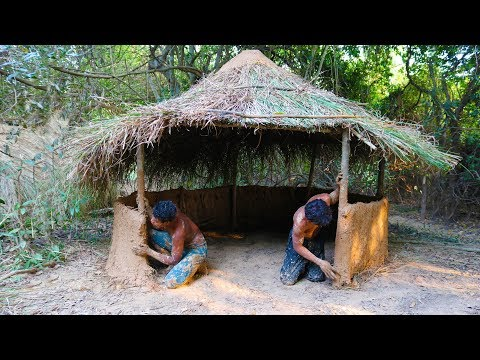 Primitive Tool : Build A-frame mud hut ( Use grass mix with mud )