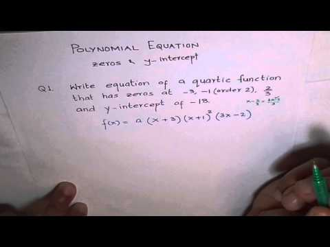 Determine Equation of Polynomial from Zeros and Y-Intercept