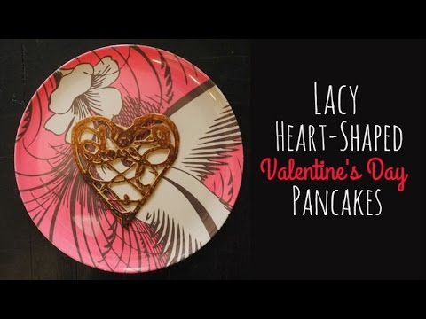 Lacy heart pancakes for Valentine's Day | One Hungry Mama
