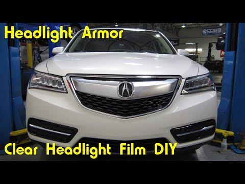Clear Headlight Protection Film Tint Install DIY - Acura MDX - Headlight Armor