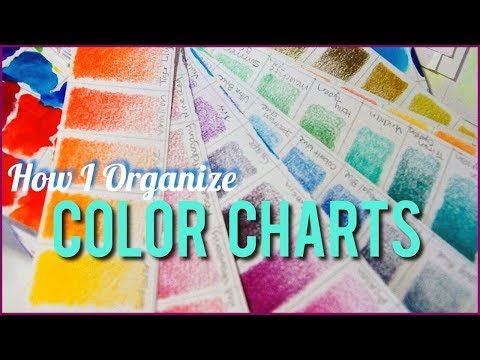 How I Organize COLOR CHARTS - Holbein, Prismacolor, Derwent Inktense - [Colored Pencil & Watercolor]