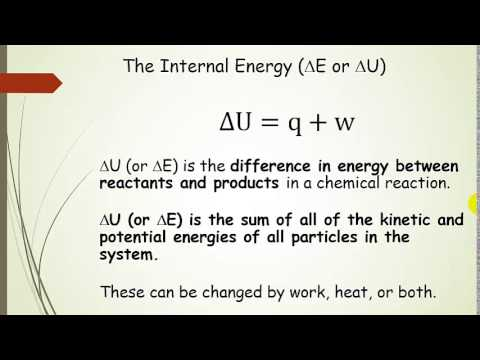 First Law of Thermodynamics:  Internal Energy, Heat, and Work