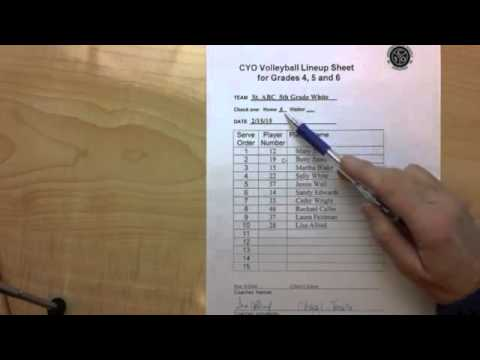 CYO Volleyball 4 6 Line Up Sheet Rotations
