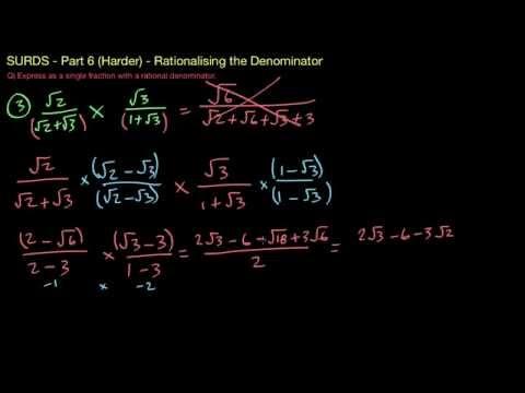 Surds/Radicals 6 - (Harder) Fractions.