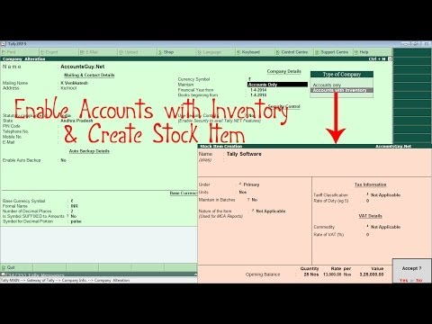 How to enable Inventory and create Stock Item in Tally ERP 9?