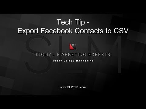 Tech Tip - Export Facebook Contacts to CSV