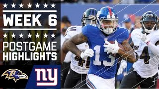Ravens vs. Giants | NFL Week 6 Game Highlights