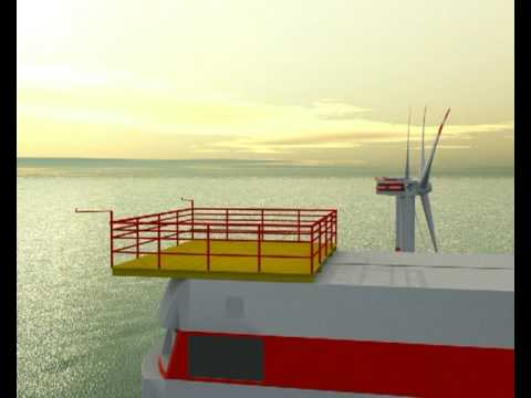 40 Squadron Sea King near Windturbine C-Power Thornton Bank Animation