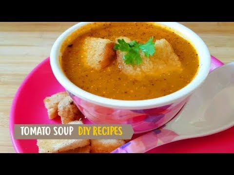 Tomato soup with bread croutons by DIY Recipes | Easy & tasty tomato soup | Tamatar ka soup
