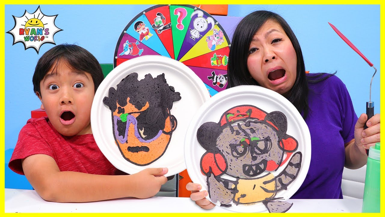 Pancake Art Challenge VTubers Ryan's World Edition! Learn to make DIY Pancake Art!!