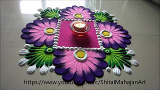 Very Easy and Simple Festival Rangoli Designs| Navratri,Diwali Special Rangoli by Shital Mahajan