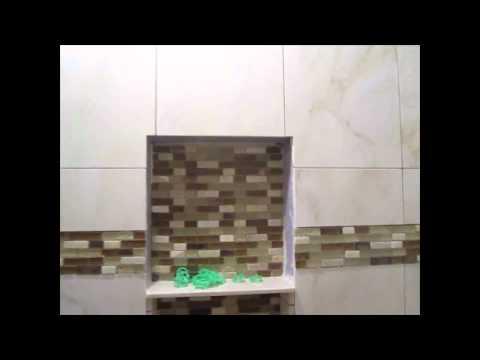 Ceramic Tile Tub Area With Glass Border