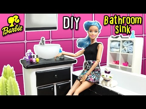 DIY - How to Make Bathroom Sink for Barbie Doll - Dollhouse Miniatures Tutorial - Making Kids Toys