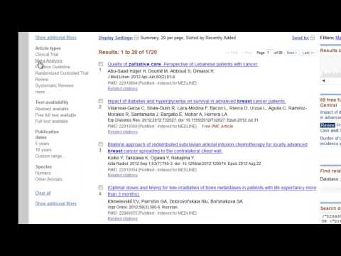 Filtering search results in PubMed