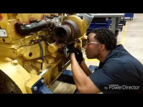 Dismount/mount a turbocharger on a Caterpillar C7.