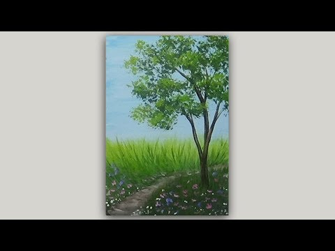 Landscape Acrylic Speed Painting |Tree and Meadow Path