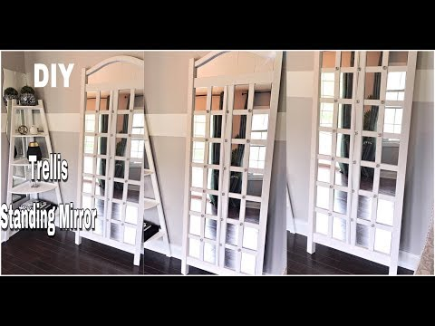 DIY HOME DECOR - HOW TO MAKE A EASY TRELLIS STANDING MIRROR