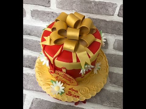 Red & gold birthday cake