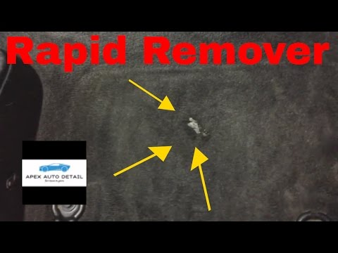 Removing Paint, Gum, Tar, Adhesive From An Automobile Carpet With Rapid Remover