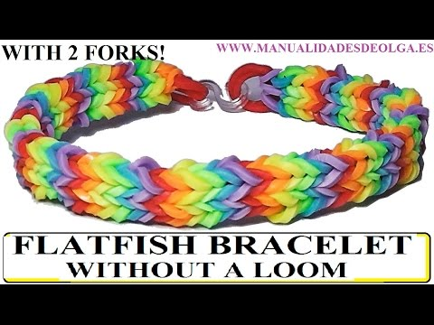How to make FLATFISH Bracelet with 2 forks. Without rainbow loom