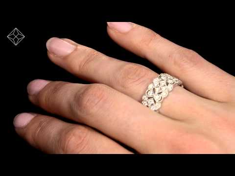 Wide Diamond Eternity Ring - ArtDeco - 1.02ct in 18K White Gold