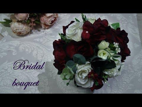 DIY bridal bouquet from silk flowers